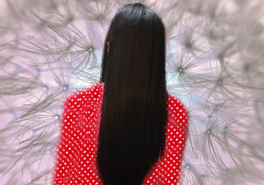 hair straightening, seedhe baal, straight hair image